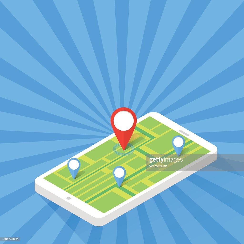 Game Application Concept. Gps Map Navigation with Phone Screen. Vector