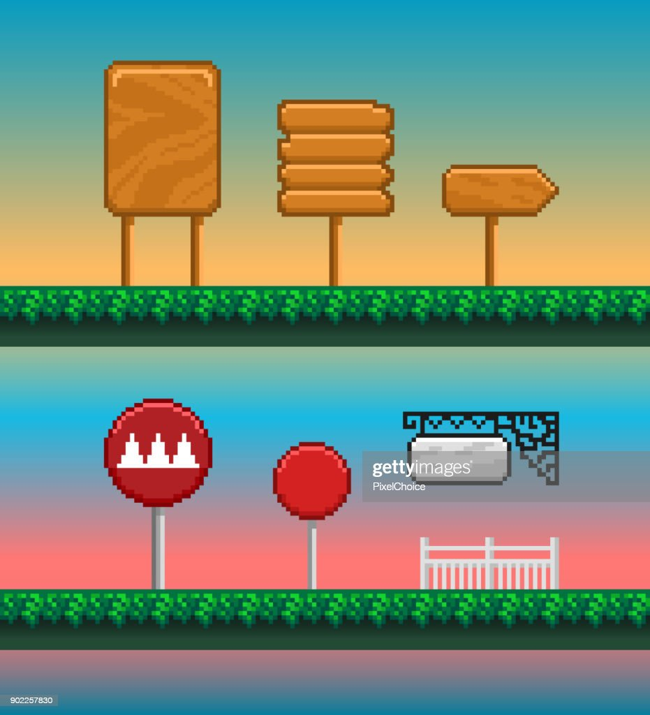 Game assets, pixel art GUI