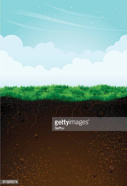 game background template showing underground and above - cross section stock illustrations