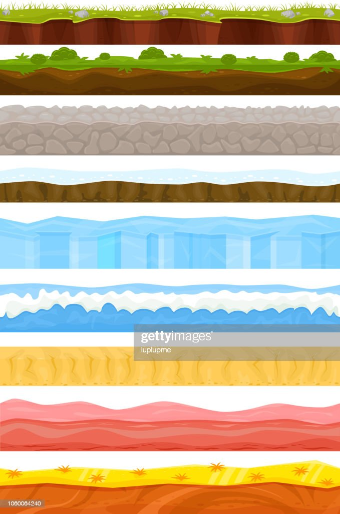Game background vector cartoon landscape in summer or winter int