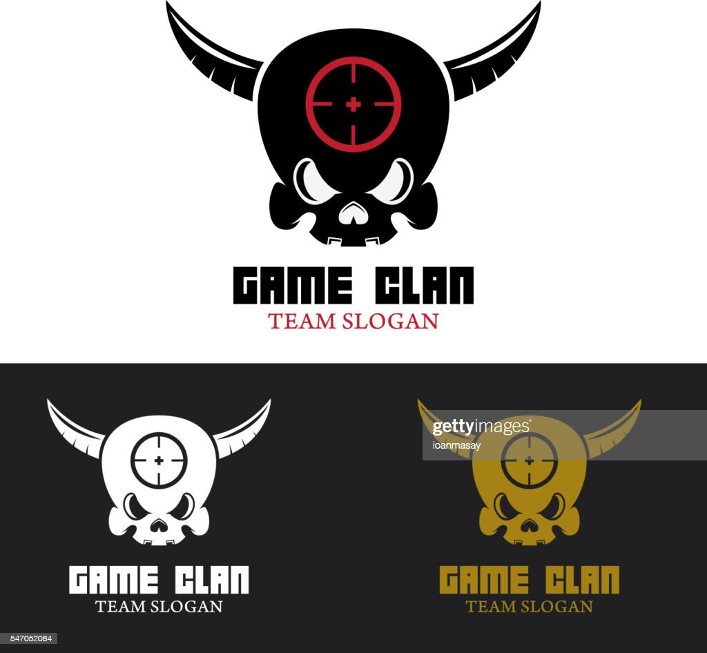 Game Clan Emblem Template Human Skull With Horns Clipart Vectoriel