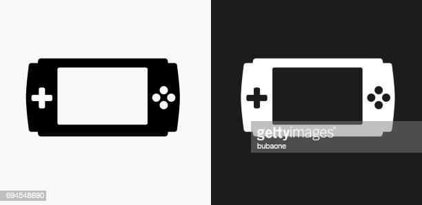 Game Console Icon on Black and White Vector Backgrounds