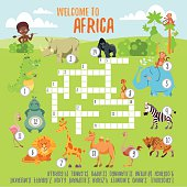 Game crossword concept with cartoon African animals