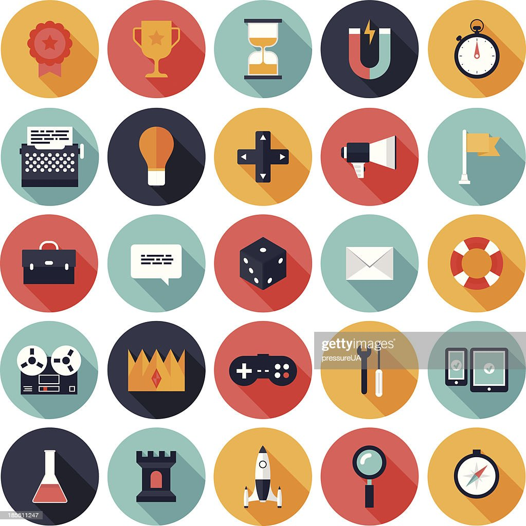 Game design vector icons in colorful circles