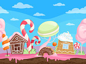 Game endless sweet landscape. Fantasy delicious background desserts candy sugar caramel chocolate biscuits lollipop vector cartoon