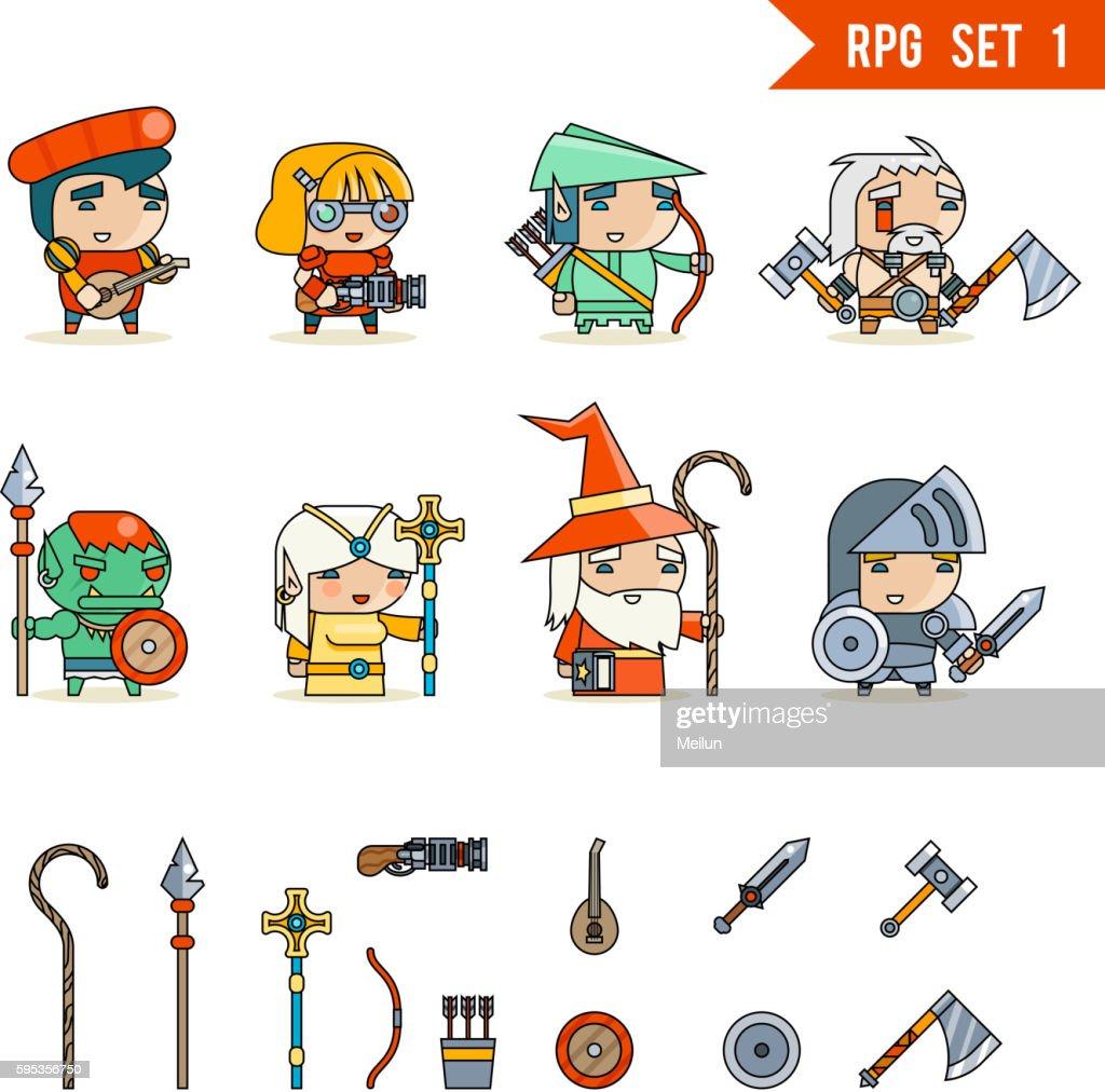 RPG Game Fantasy Character Vector Icons Set Illustration