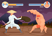 Game fighting. Screen location of computer 2D gaming asian fighter vs wrestler luchador vector background