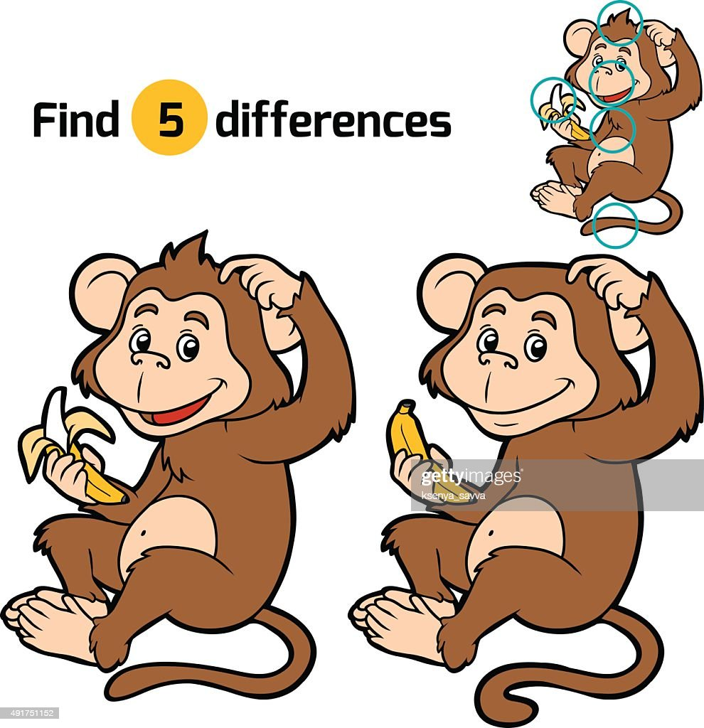 Game for children: find differences (little monkey)