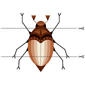 A game for children of preschool age. Cut the picture into pieces. Fold in the right order. Mosaic. may beetle, chafer
