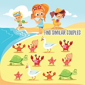 Game for kids with finding pairs of cute beach inhabitants.