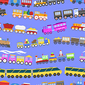Game gift kids train seamless pattern background vector travel railroad