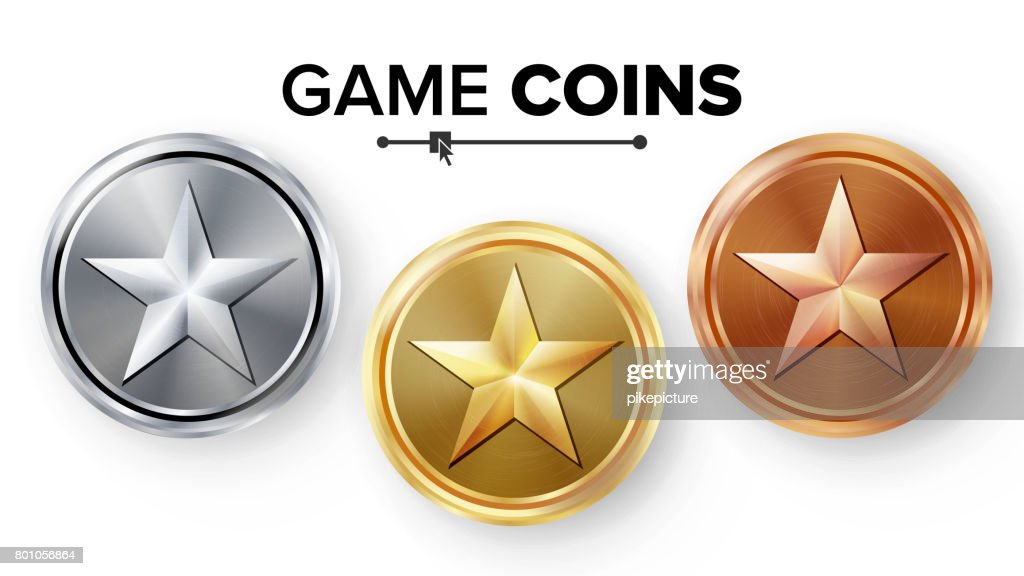 Game Gold, Silver, Bronze Coins Set Vector With Star. Realistic Achievement Icon Illustration. Rank Medals For Game User Interface, Web, Video Game Or App Interface