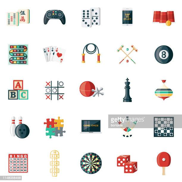 game icon set - leisure games stock illustrations