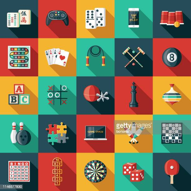 game icon sets - leisure games stock illustrations