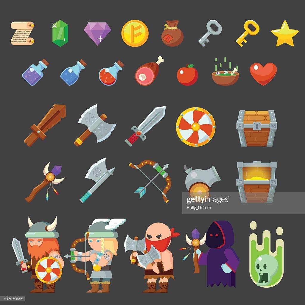 Game icons medieval viking. Inventory, heroes, enemies, weapon