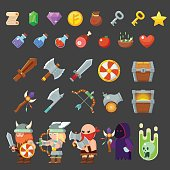 Game icons medieval viking. Inventory, heroes, enemies, weapon