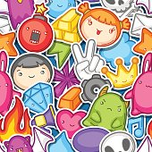 Game kawaii seamless pattern. Cute gaming design elements, objects and