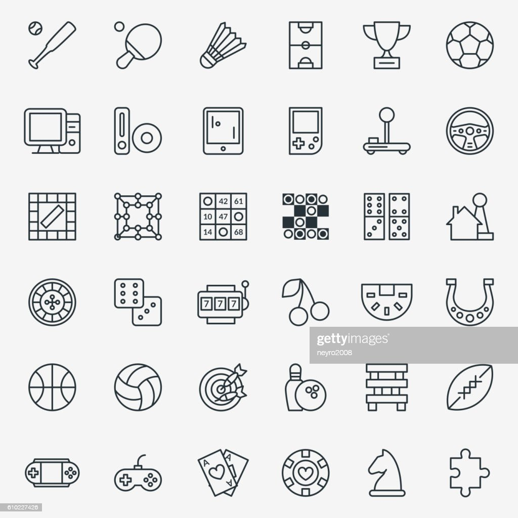 Game line icons vector set