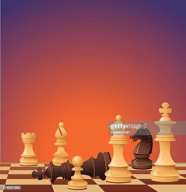 Juego de ajedrez; negro Surrenders con cama King