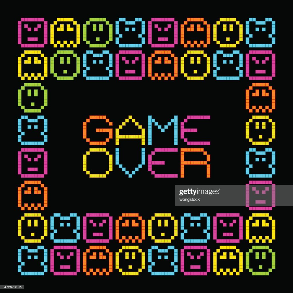 Game Over message in an 8-bit arcade style