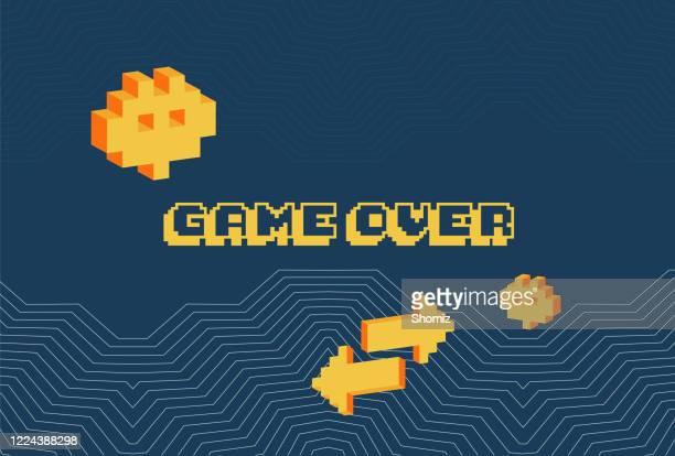 ilustrações de stock, clip art, desenhos animados e ícones de game over screen, old school gaming poster - final game