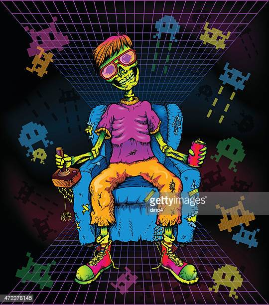 game over (bright) - joystick stock illustrations, clip art, cartoons, & icons