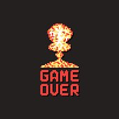 game over with pixel art explosion