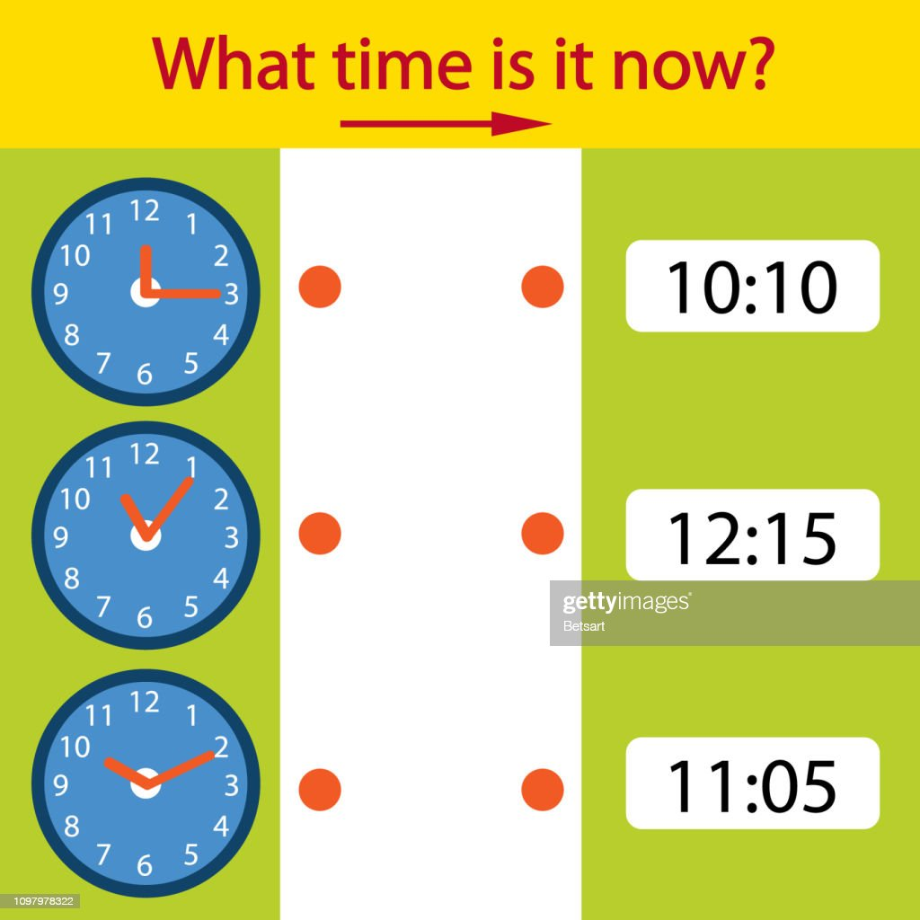 Game riddle the children clock. What time is it now? Children funny entertainment and amusement. Educational Game of Matching time on the watch. Vector illustration