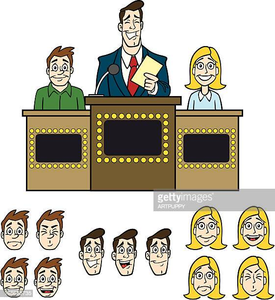 game show elements - game show host stock illustrations