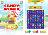 Game UI Candy World Match 3 set game icons, buttons, and elements interface game design resource bar and icons kinds of lollipops and sweet food for games cartoon style. Sweet candy land game background Vector isolated illustration