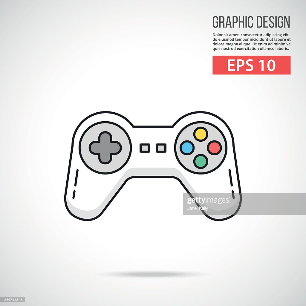 Gamepad icon. Thin line design. White game controller. Vector illustration