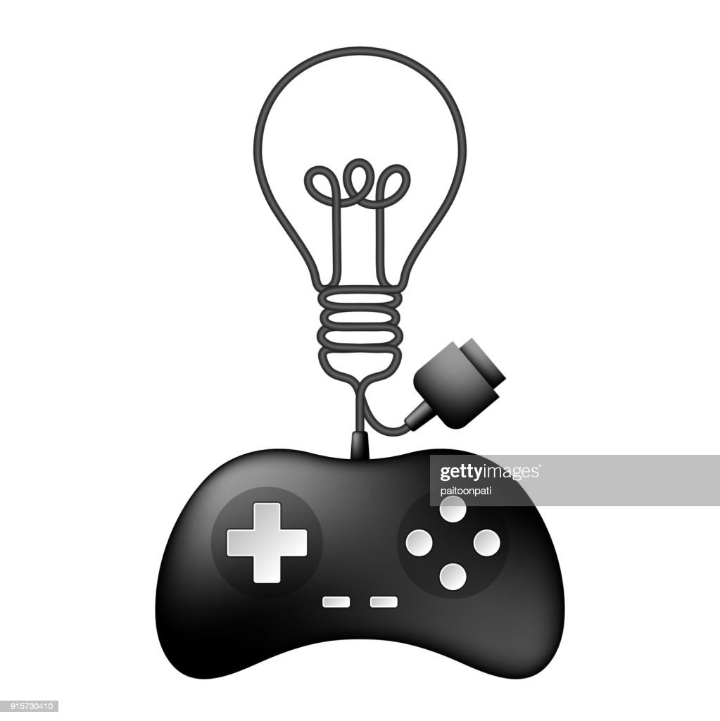 Gamepad or joypad black color and Incandescent light bulb symbol made from cable design illustration isolated on white background, with copy space
