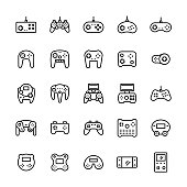 Gamepads icon set in thin line style.Vector symbols