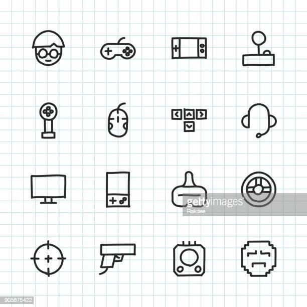gamer icon - hand drawn series - joystick stock illustrations, clip art, cartoons, & icons