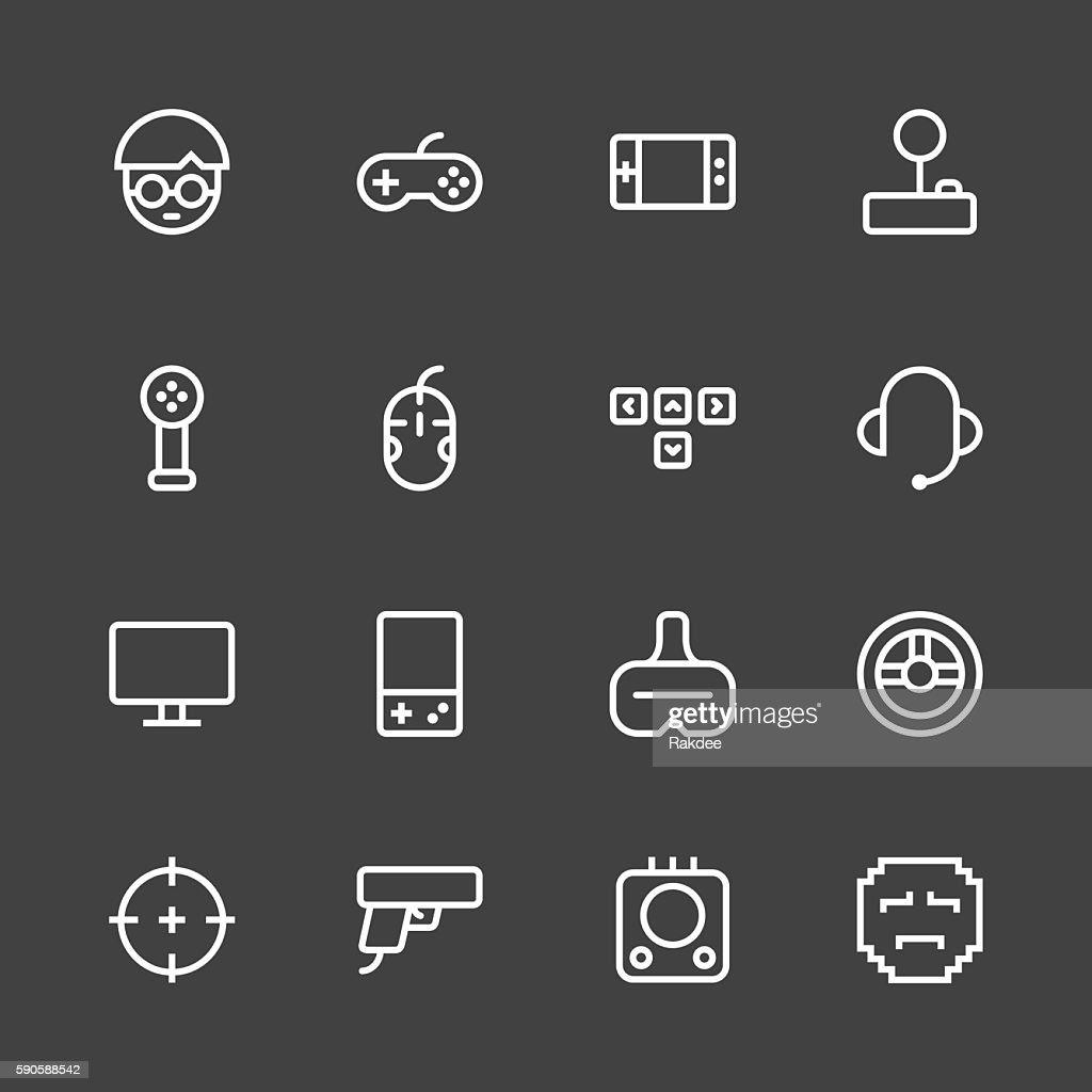 Gamer Icon - White Line Series : stock illustration
