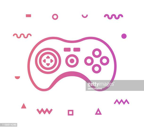 gamer line style icon design - sport set competition round stock illustrations