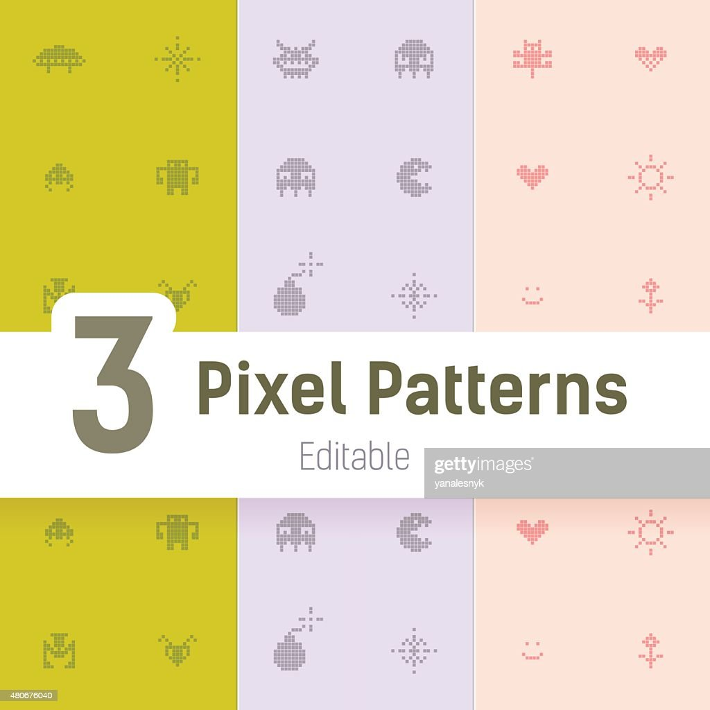 Gamer Monster Pixel Pattern, Flat Vector Background Set