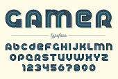 Gamer vector decorative font design, alphabet, typeface, typogra