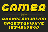 Gamer vector decorative italic font design, alphabet, typeface,