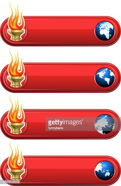 . games banner - sport torch stock illustrations, clip art, cartoons, & icons