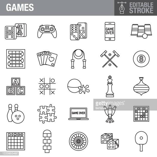 games editable stroke icon set - leisure games stock illustrations