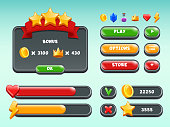 Games gui set. Mobile gaming user interface icons and items colored button status bar ribbons casual build vectors