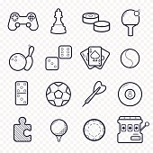 Games linear icons. Ping-pong, golf, billiards, darts leisure activities. Gambling, sport game line icons.