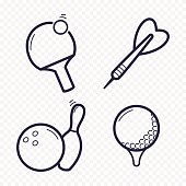 Games linear icons. Ping-pong, golf, bowling, darts leisure activities. Gambling, sport game line icon.