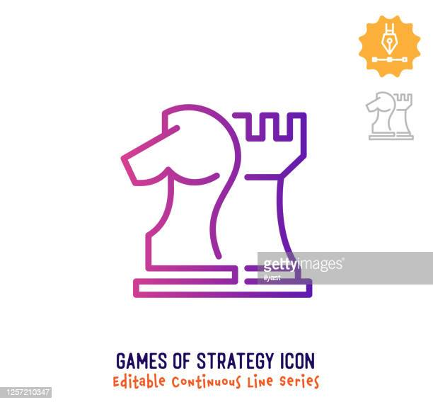 ilustrações de stock, clip art, desenhos animados e ícones de games of strategy continuous line editable stroke line - xadrez