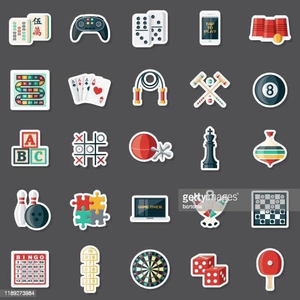 games sticker set - table tennis stock illustrations