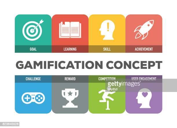 illustrazioni stock, clip art, cartoni animati e icone di tendenza di gamification colorful icons set - tempo turno sportivo