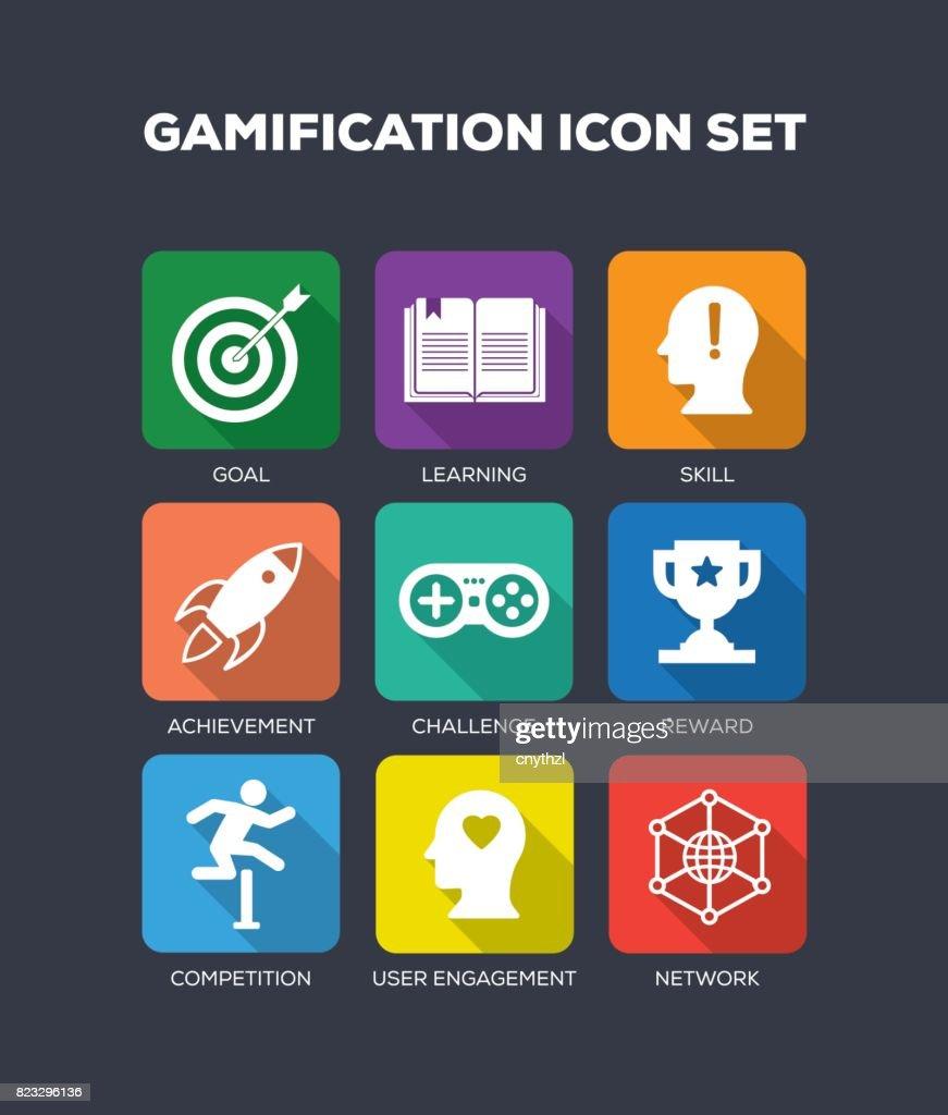 Gamification Flat Icons Set