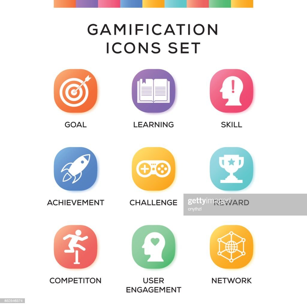 Gamification Icons Set on Gradient Background