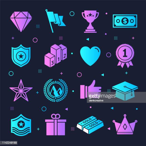 Gamification Learning & Education Neon Style Vector Icon Set